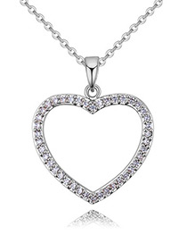 Fashion Silver Color Hollow Out Heart Decorated Necklace