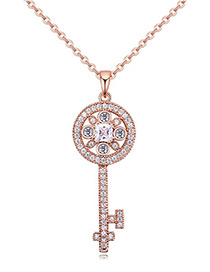 Elegant Rose Gold Color Key Shape Decorated Necklace