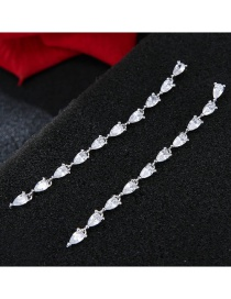 Fashion Silver Color Oval Shape Diamond Decorated Earrings