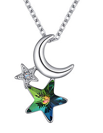 Fashion Green Moon&star Shape Decorated Necklace