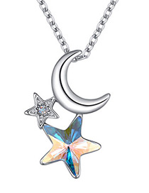 Fashion Multi-color Moon&star Shape Decorated Necklace