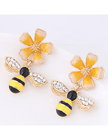 Fashion Yellow Bee&flower Shape Decorated Earrings