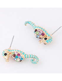 Fashion Light Blue+gold Color Hippocampus Shape Decorated Earrings