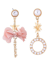 Fashion Pink Bowknot Shape Decorated Earrings