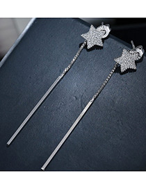 Fashion Silver Color Star Shape Decorated Pure Color Earrings