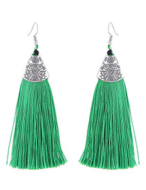 Fashion Green Long Tassel Decorated Simple Earrings