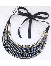 Trendy Light Blue Diamond Decorated Collar Necklace