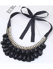 Trendy Black Pure Color Decorated Collar Necklace