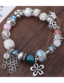 Elegant Multi-color Flower Pendant Decorated Bracelet
