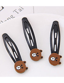 Cute Brown Little Bear Shape Decorated Hairpin (3pcs)