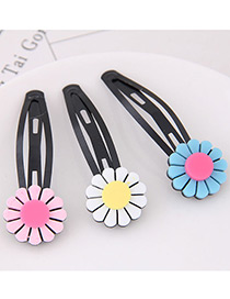 Cute Multi-color Sunflower Shape Decorated Hairpin (3pcs)