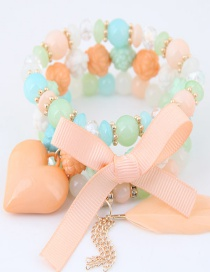 Lovely Champagne Beads&bowknot Decorated Multi-layer Bracelet