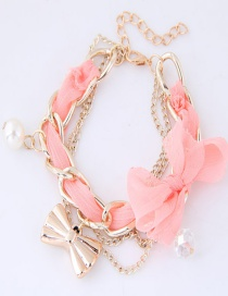 Lovely Pink Bowknot&pearl Decorated Bracelet