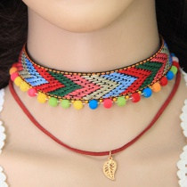 Fashion Multi-color Leaf Shape Decorated Choker