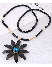 Fashion Black+blue Flower Pendant Decorated Long Necklace