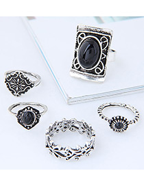 Fashion Silver Color+black Shield Shape Decorated Ring (5pcs)