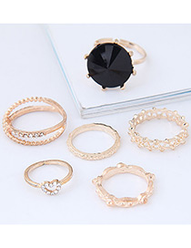 Fashion Gold Color Diamond Decorated Double Layer Ring(6pcs)