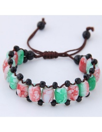 Fashion Red+green Beads Decorated Color Matching Bracelet