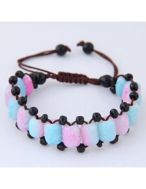 Fashion Blue+pink Beads Decorated Color Matching Bracelet