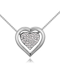 Fashion Silver Color Double Heart Shape Decorated Necklace