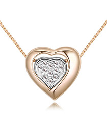 Fashion Gold Color Double Heart Shape Decorated Necklace