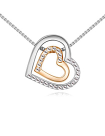 Fashion Gold Color+silver Color Double Heart Shape Decorated Necklace