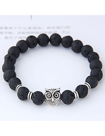 Elegant Black Owl Shape Decorated Bracelet