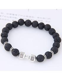 Elegant Black Dumbbells Shape Decorated Bracelet
