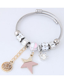 Elegant Pink Star Shape Decorated Bracelet