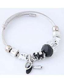 Elegant Black Elephant Shape Decorated Bracelet