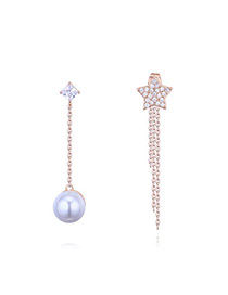 Elegant Rose Gold Star Shape Decorated Tassel Earrings