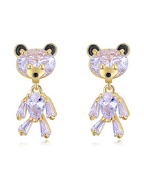 Elegant Gold Color Bear Shape Decorated Earrings