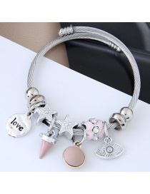 Fashion Silver Color+pink Star&eye Shape Decorated Bracelet