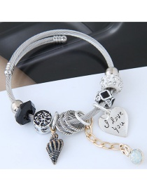 Fashion Silver Color+black Heart Shape Decorated Bracelet
