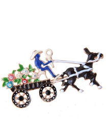 Fashion Multi-color Christmas Carriage Shape Decorated Brooch