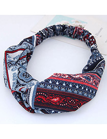Fashion Red+blue Flower Pattern Decorated Hair Band