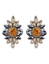 Fashion Champagne Diamond Decorated Flower Shape Earrings