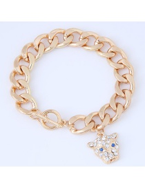 Trendy Gold Color Leopard Pendant Decorated Simple Bracelet