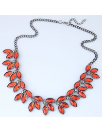 Trendy Orange Gemstone Decorated Leaf Shape Necklace