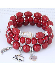 Trendy Red Elephant&wings Decorated Multi-layer Bracelet