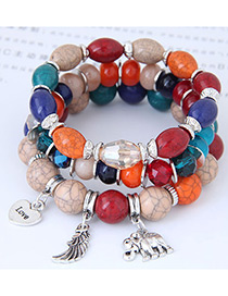Trendy Multi-color Elephant&wings Decorated Multi-layer Bracelet