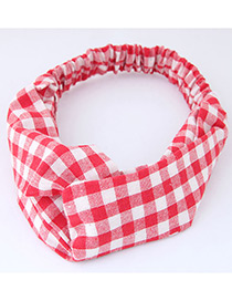 Trendy Red+white Grid Pattern Decorated Cross Design Hair Band