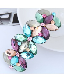 Fashion Multi-color Oval Shape Diamond Decorated Hairpin