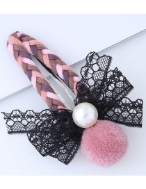 Fashion Pink Bowknot Shape Decorated Pom Necklace