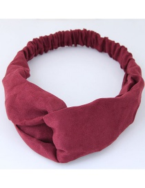 Fashion Claret Red Pure Color Decorated Headband
