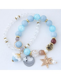 Fashion Blue+white Star&owl Shape Decorated Bracelet