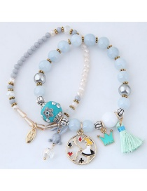 Fashion Light Blue+gray Rabbit&crown Shape Decorated Bracelet