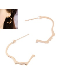 Fashion Gold Color Face Shape Decorated Pure Color Earrings