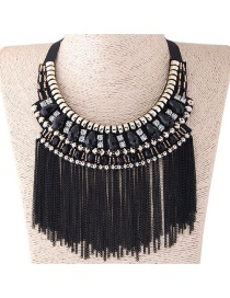 Fashion Black+white Long Tassel Decorated Simple Necklace