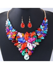 Fashion Multi-color Gemstone Decorated Simple Jewelry Sets